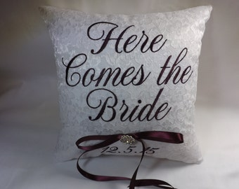 Here Comes the Bride Ring Bearer Pillow, wedding pillow, custom pillow, embroidered pillow