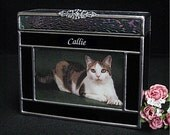 """Pet Urn - Small #7A Dog or Cat Cremation Photo Frame Urn in stained glass, accepts a 3"""" x 5"""" photo"""