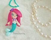 Ariel Mermaid Necklace, Ariel, Polymer Clay Pendant, Mermaid Necklace, Cosplay, polymer clay, clay pendant, Kawaii, Chibi, Necklace