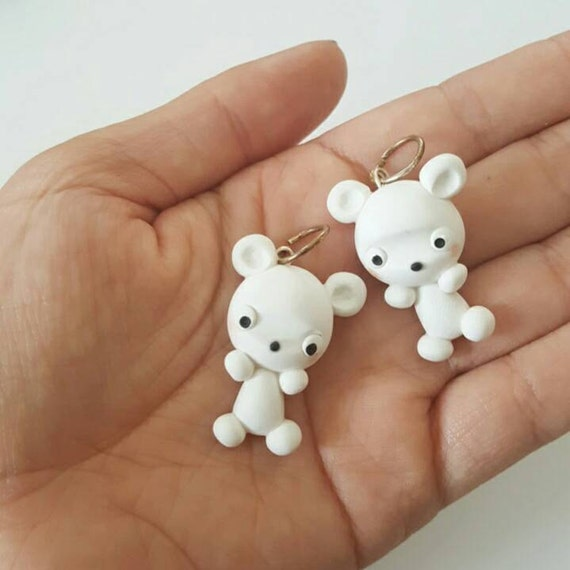 Cute Kawaii Ice Bear Polymer Clay Charm, Ice Bear Clay Pendant, Polar Bear, Charm, polymer clay, clay pendant, Kawaii, Chibi, Clay Charm