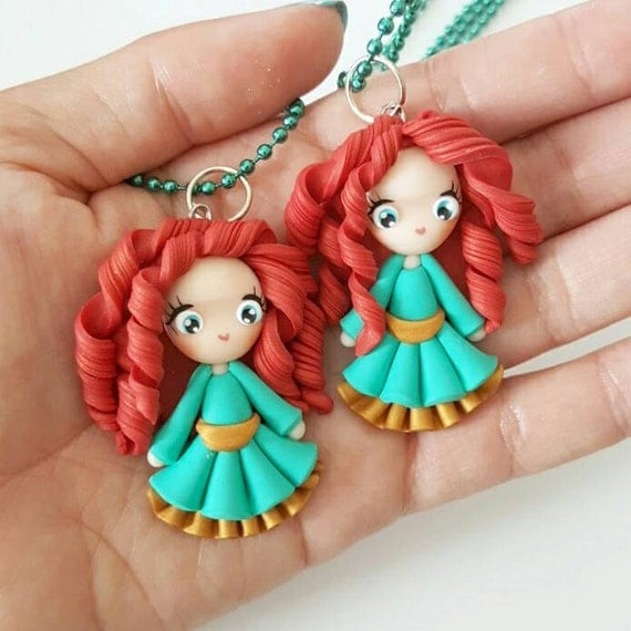 LIMITED EDITION Merida Necklace, Princess, Polymer Clay Pendant, Necklace, polymer clay, clay pendant, Kawaii, doll, charm, Christmas