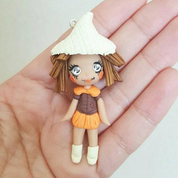 Scarecrow Girl Necklace, Fall, Autumn, Thankgiving, Polymer Clay Pendant, Necklace, polymer clay, clay pendant, Kawaii, doll, charm