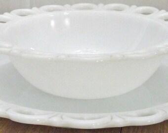 Vintage White Milk Glass Underplate Meat Plate Platter