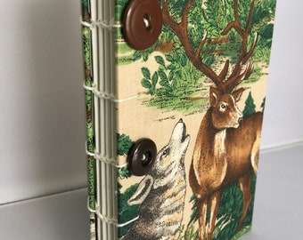 Deer Wolf Fabric Covered Sketchbook Blank Book Journal