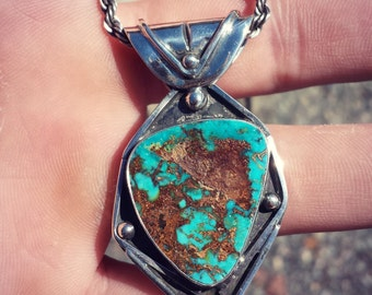 Natural Turquoise Sterling Silver Pendant