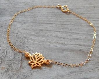 Lotus Bracelet, Gold Lotus Bracelet, Dainty gold bracelet, yoga, Bridesmaid bracelet