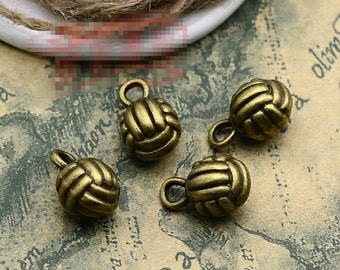 20pcs 9mm x15mm Volleyball Charms Antique Bronze Tone 3D - BC0349