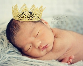 Gold Baby Crown, Regal, Golden Lace Crown, Baby Photo Prop, Newborn Golden Crown Baby Girl or Boy Crown Gold Vintage
