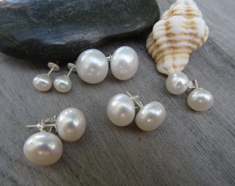 Fresh water pearls studs. Sterling silver screw back studs.