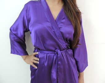 Code: H-6 Satin Solid Color Kimono Crossover patterned Robe Wrap - Bridesmaids gift, getting ready robes, Bridal shower favors, baby shower