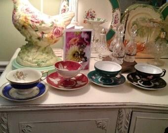 set of 4 vintage teacups