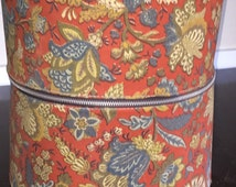 Vintage Wig Box Spectacular Floral Cloth Covered Zippered Wig or Hat Box w Lock AND Key included