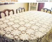 Sale Beautiful Vintage Crochet Lace Tablecloth Ecru Coverlet Large For Table Holiday Rustic Wedding Bedding Throw