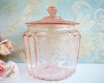 Pink Depression Glass Jar With Lid Mayfair Open Rose/Candy Jar/Wedding Decor/Collectable/ Shabby Chic
