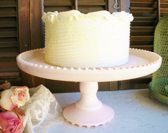 Jeannette Pink Milk Glass Cake Stand/ Wedding Cake Stand /Cupcake Stand/ Vanity/ Shabby Chic Decor/Showers/Birthday /10 Inch