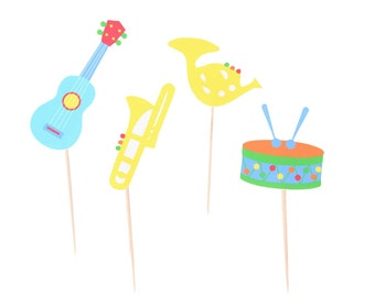 Music Instrument Cupcake Toppers - Music Cupcake Toppers - Guitar Cupcake Toppers - Drum Cupcake Toppers - Horn Cupcake Topper - Music Theme