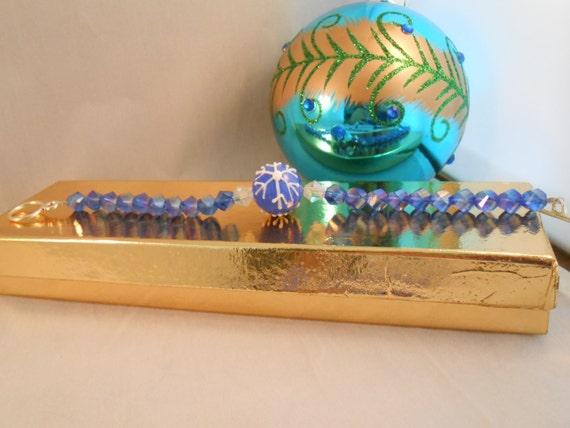 Blue crystal beaded bracelet,snowflake bracelet,crystal beaded snowflake bracelet