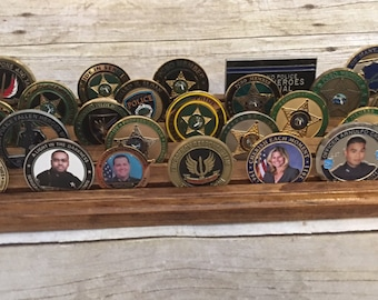 Challenge Coin Display Holder Collector Military Law Enforcement Wood Display Case Holds 25 Coins