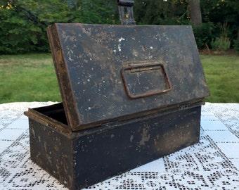 "Antique Tin Box/Primitive Black Box/Distressed Tool Box/Farm Lunch Box/Top Handle & Front Latch/10"" Metal Box/Rustic Industrial Farmhouse"
