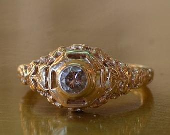 CUPID CHAOS SALE Antique Diamond Engagement Ring // Rose Gold Art Deco Diamond Engagement Ring // Vintage Engagement Ring // Art Deco Filigr