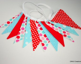 9' Red and Aqua Fabric Garland - Red and Aqua Dots and Solids - Photo Prop, Party Decor - 12 Double-Sided Bunting Flags - READY TO SHIP!