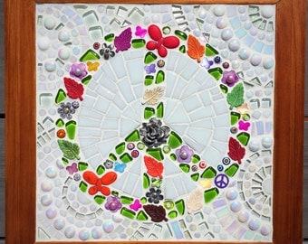 Peace sign framed glass mosaic flowers butterflies