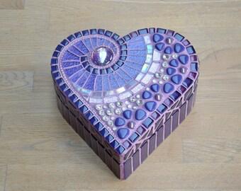 Purple glass mosaic heart shaped box for jewelry trinkets keepsakes