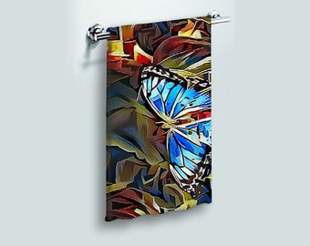 Small Face Cloth Face Towel Blue Butterfly Abstract