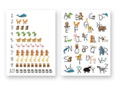 Printable Alphabet and Numbers set with animals / Pdf file /  Alphabet  and numbers digital print / digital art / nursery art for download