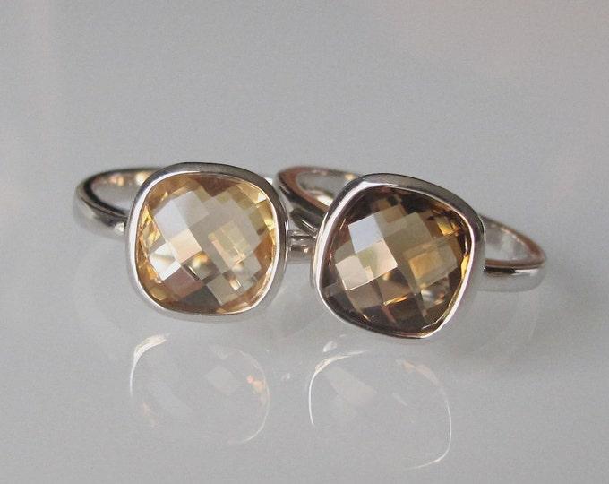 Square Stack Ring- Citrine Ring- Smoky Topaz Ring- Brown Ring- Stone Ring- Square Ring- Rings for Her- Gemstone Ring- Statement Ring