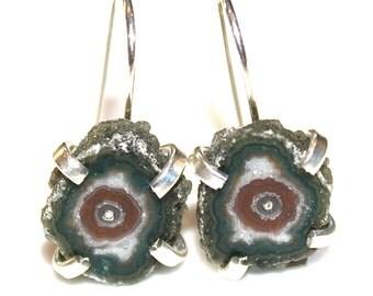 Stalactite Earrings Stalactite Jewelry Green Druzy Earring Raw Gemstone Earring Druzy Earrings Drusy Earring Agate Earring Delicate Earring