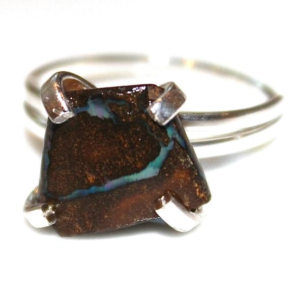 Boulder Opal Ring Rustic Opal Ring Australian Opal Ring Opal Jewelry Chunky Ring Raw Opal Ring Artisan Jewelry Natural Opal Boulder Ring