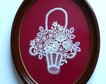 "lovely vintage lace floral basket applique in oval frame under glass-7"" wide x 8-1/2"" long"