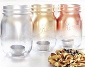 Gift for Her Metallic Mason Jar Candle Holders Lanterns Home Decor Mothers Day