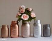 Rose gold decor / dorm decor / blush / copper / mason jars / silver / Vase / centerpiece / set of 5 / copper decor