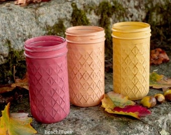 Fall Decor / Mason Jars / Rustic Home Decor / Vase / Centerpiece / Thanksgiving / Autumn / Red Orange Yellow / Painted Mason Jars Set of 3