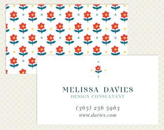 Retro Business Card Design. Fun Branding Blue Red Yellow Business Card Design Flower Business Card Flower Power Mod 1960s sixties Pattern
