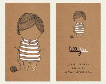 Knitting Business Card Design. Knitter Business Card Design. Kraft Paper Business Card. Cute Character Calling Card. Kawaii Business Card