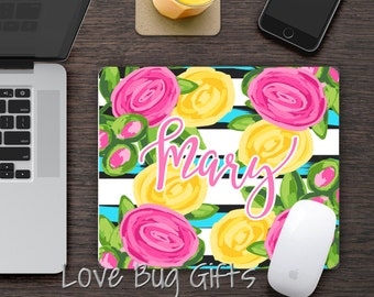 Personalized Mousepad * Pink and yellow preppy rose * Desk accessory * Mouse Pad
