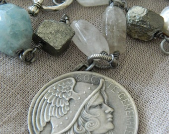 SALE use coupon code Spring10 for 10% OFF French Art Medal Necklace Assemblage Antique Pendant Aquamarine Pearl Pyrite and Quartz