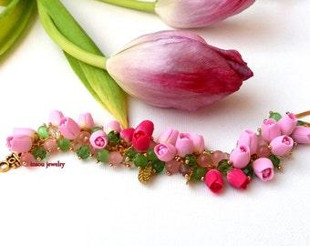 Pink Jewelry, Wedding Jewelry, Charm Bracelet, Tulip Bracelet, Pink Bracelet, Flower Bracelet, Pink Tulips, Handmade Bracelet, Gift For Her