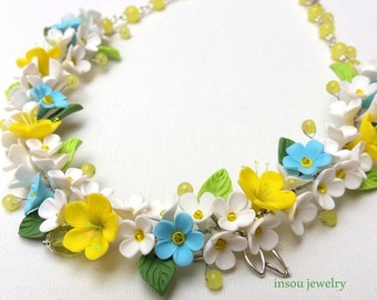 Flower Necklace, Spring Jewelry, Statement Necklace, Flower Jewelry, Romantic Necklace, Handmade Necklace, Gift For Her, Wedding Jewelry