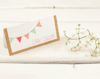 Bright Burlap Bunting Folded Wedding Place Card
