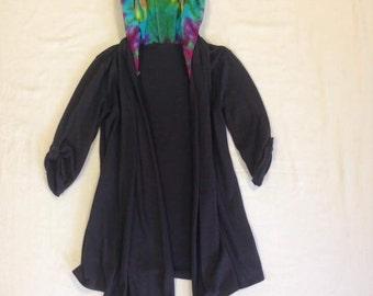 Funky Tie Dye Women's Hooded Cardigan size Small W194