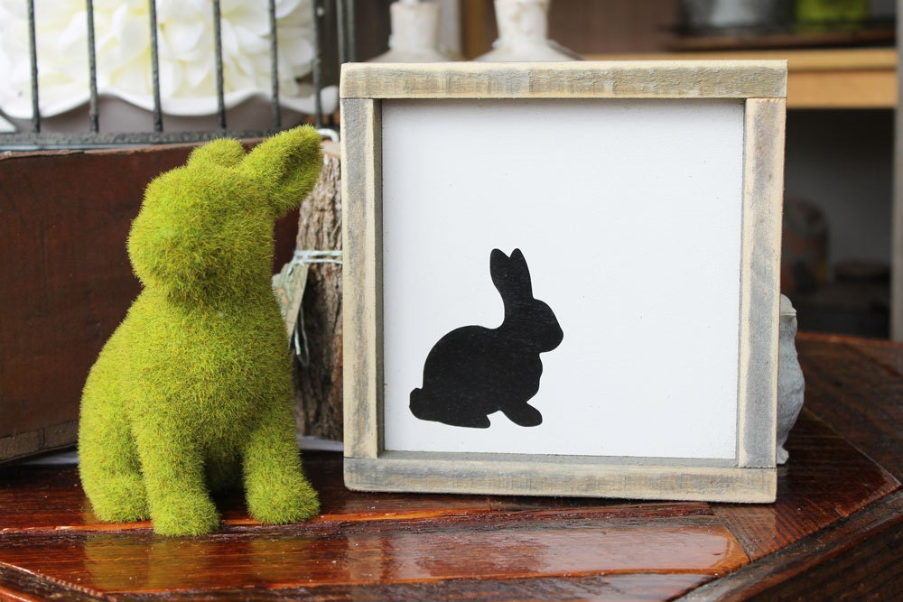 Rabbit rustic wood sign spring decor housewarming gift home for Rabbit decorations home