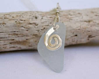 Light Aqua Maine Sea Glass Pendant on Sterling Silver Chain, One of a Kind