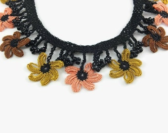 Crochet Necklace Elegant Floral Lace Statement Necklace – Crochet Beadwork – Ready to ship – Gift – Christmas – Holiday Fashion - Stylish