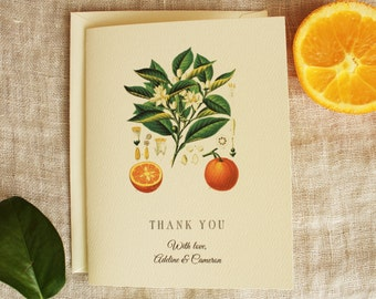 Wedding Thank You Cards | Orange Blossom Thank You Card Set | Orange Baby Shower Thank You Cards Bulk | Bridal Shower Thank You Cards