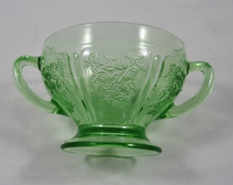 Sharon Cabbage Rose, Green Depression Glass, Open Sugar Bowl by Federal Glass Co., 1930's