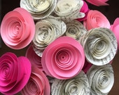 Pink paper flowers, book page paper flowers, paper flower bouquet, baby shower decorations